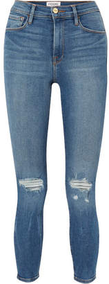 Frame Ali Distressed High-rise Skinny Jeans - Mid denim