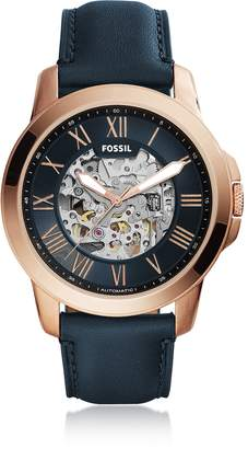Fossil Grant Automatic Blue Leather Men's Watch