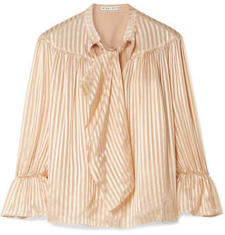 Alice + Olivia Danika Pussy-bow Striped Satin And Chiffon Blouse - Sand