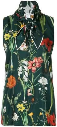 Oscar de la Renta sleeveless tie neck blouse