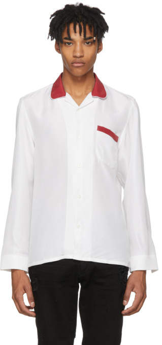 Cobra S.c. White and Red Washed Silk Cabriolet Shirt
