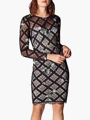 Karen Millen Check Lace Pencil Dress, Black/Multi