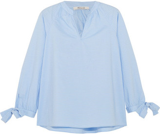 Madewell - Striped Cotton-poplin Blouse - Light blue $65 thestylecure.com