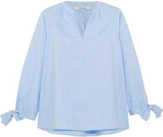 Madewell - Striped Cotton-poplin Blouse - Light blue $65 thestylecure.com