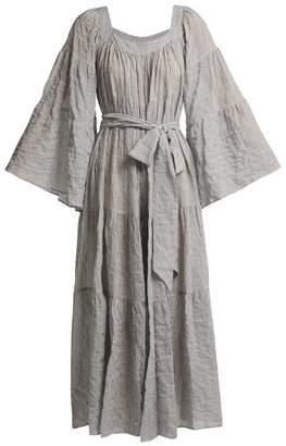 d74ba8f434 Lisa Marie Fernandez Tiered Seersucker Dress - Womens - Black Stripe