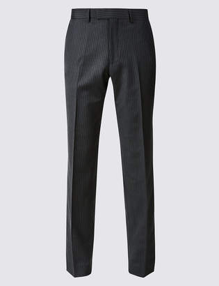 Marks and Spencer Striped Tailored Fit Wool Trousers