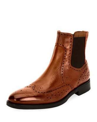 Salvatore Ferragamo Men's Wing-Tip Brogue Leather Chelsea Boot, Cognac Brown