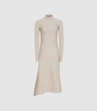 Reiss Leo - Turtleneck Knitted Dress in Stone