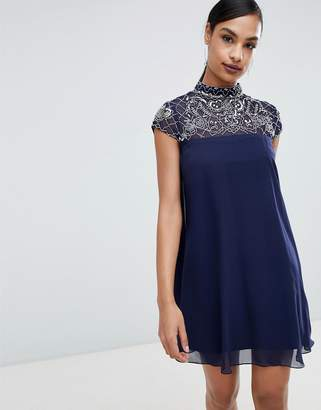 Lipsy embellished high neck swing dress