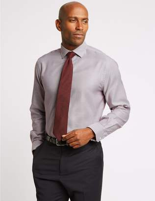 Marks and Spencer Pure Cotton Tailored Fit Textured Shirt