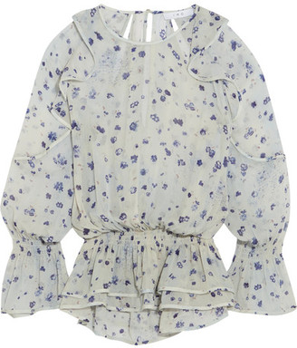 IRO - July Ruffled Floral-print Georgette Blouse - Ecru $310 thestylecure.com