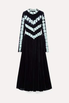Proenza Schouler Tie-dyed Stretch-velvet Maxi Dress - Midnight blue