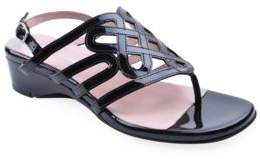 Taryn Rose Kelvo Patent Leather Wedge Thong Sandals