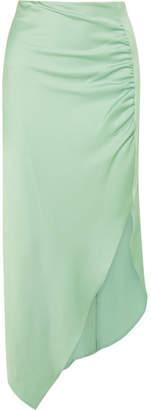 Peter Pilotto Ruched Satin Midi Skirt - Mint