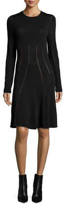 McQ Ergonomic Flirty Long-Sleeve Dress, Black