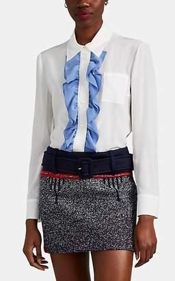 Prada Women's Ruffle-Trimmed Silk Crepe Button-Front Blouse - Ivorybone