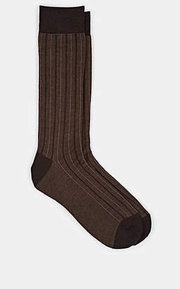 Barneys New York Men's Striped Wool-Blend Mid-Calf Socks - Dk. brown