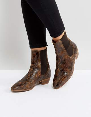 H By Hudson Hudson London Kenny Tan Snake Ankle Boots