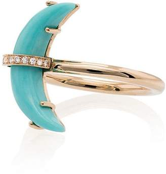 Andrea Fohrman 14K yellow gold small Crescent Moon diamond ring