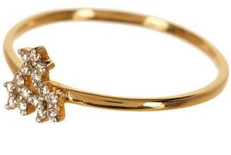 Bony Levy 18K Yellow Gold Diamond Accent 3 Star Detail Ring - Size 6.5