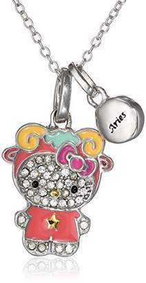 "Hello Kitty Zodiac"" Sterling Pave Crystal Enamel Full Body Aries Pendant Necklace"