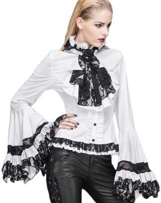 5d78d9889b223 Devil fashion Victorian Palace Women Blouse Shirts Steampunk Trumpet Sleeve  Flower Lace Tops (L