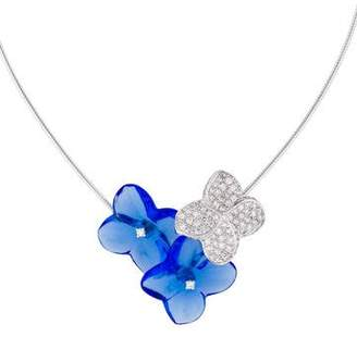 Baccarat 18K Hortensia Trio Crystal and Diamond Flower Necklace