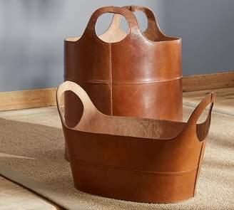 Pottery Barn Hayes Leather Storage Baskets