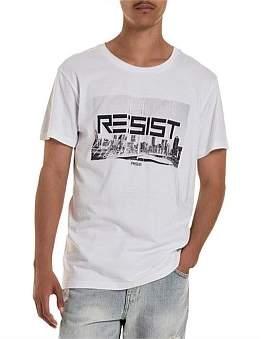 R & E RE: Resist Print Longline T-Shirt