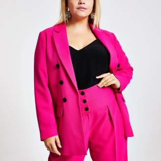 River Island Womens Plus Pink velvet button front blazer