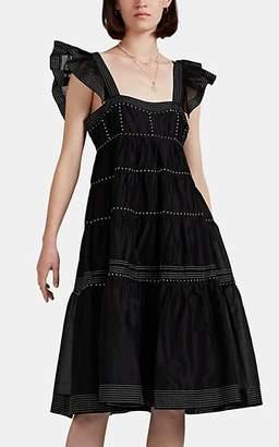 Ulla Johnson Women's Rosalie Embroidered Organza Midi-Dress - Black