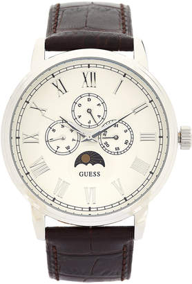GUESS W0870G1 Silver-Tone & Brown Watch