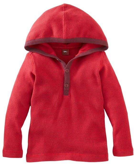 Tea Collection 'Happy' Waffle Knit Hoodie (Toddler Boys)