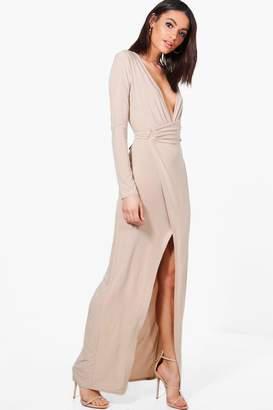 boohoo Erin Slinky Wrap Detail Maxi Dress