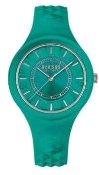 Versace Fire Island Stainless Steel Silicone Strap Watch, SOQ070016