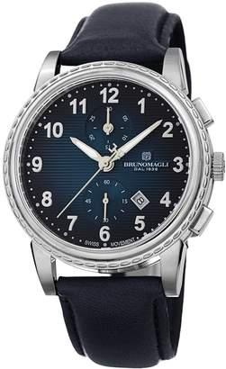 Bruno Magli Mens Dante 1002 Swiss Chronograph Quartz Italian Leather Strap Watch Blue