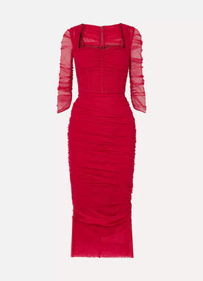 Dolce & Gabbana Ruched Stretch-tulle Midi Dress - Red