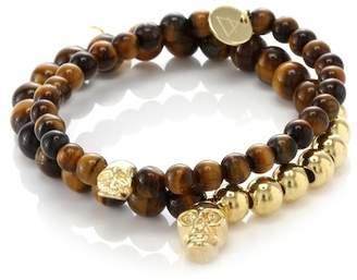 März The 14K Gold Plated Brass Divide Bead Bracelet Set