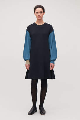 Cos COLOUR-BLOCK WOOL-KNIT DRESS