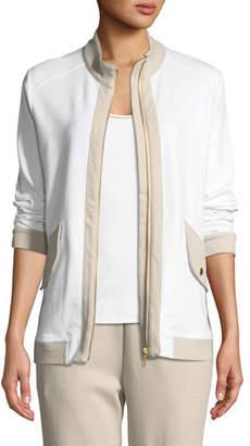 Joan Vass Contrast-Trim Zip-Front Pique Jacket, Petite