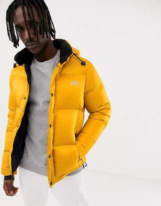 Penfield Equinox puffer jacket detachable hood in golden yellow