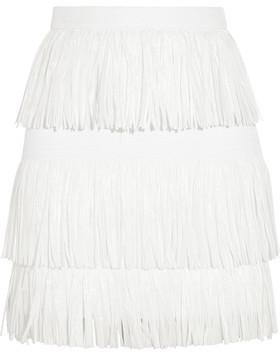MSGM Fringed Woven Mini Skirt