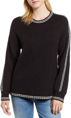 Velvet by Graham & Spencer Stripe Sleeve Cotton Blend Sweater