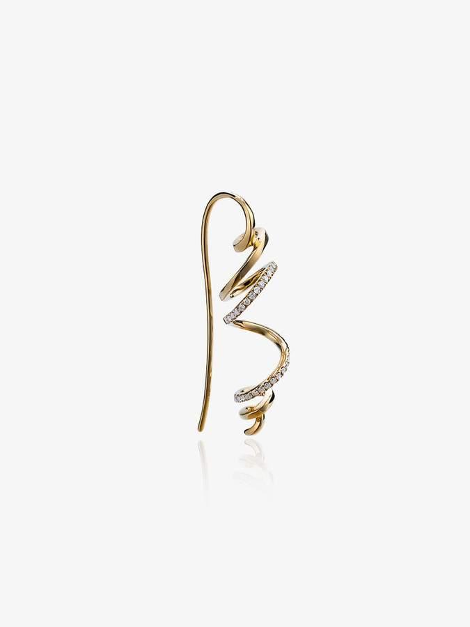 Yvonne Léon Gold spiral diamond earring