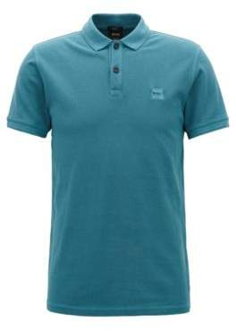 BOSS Hugo Slim-fit polo shirt in washed cotton pique M Open Green