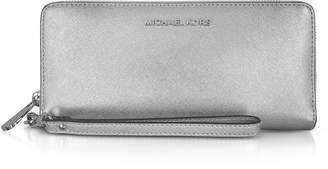 Michael Kors Jet Set Travel Large Silver Metallic Leather Continental Wallet