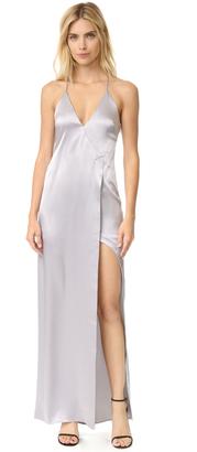 Halston Heritage V Neck Slip Dress with High Slit $495 thestylecure.com