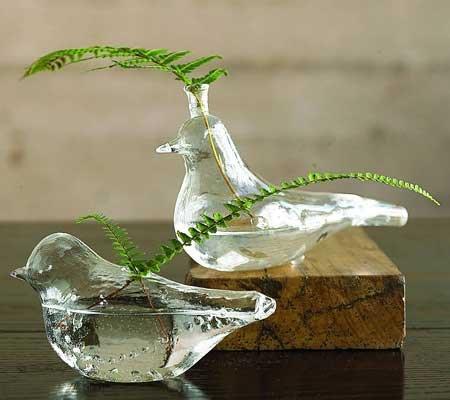 Glass Bird Vases