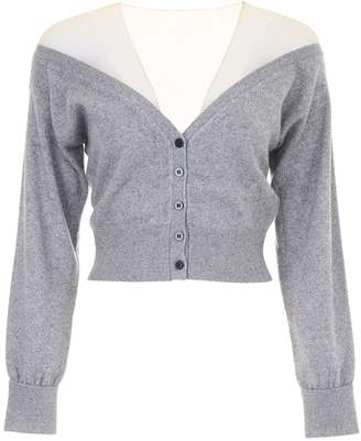 Alexander Wang Cropped Cardigan With Sheer Yoke