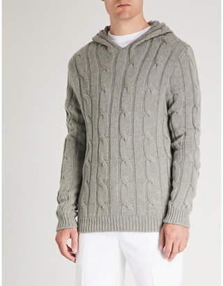 Ralph Lauren Purple Label Cable-knit cashmere hoody